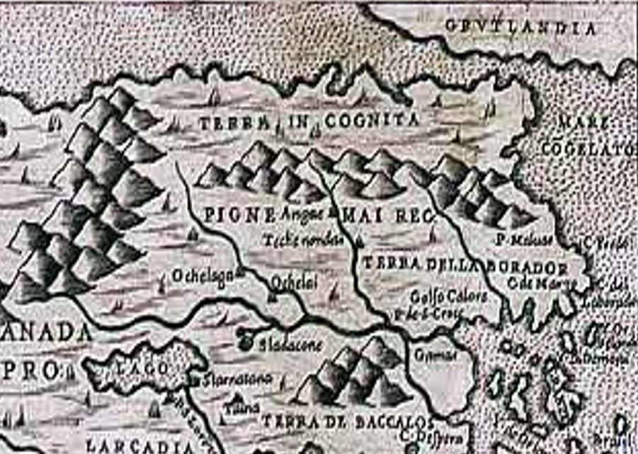 Detail from 1566 map of North America (source Wikipedia)