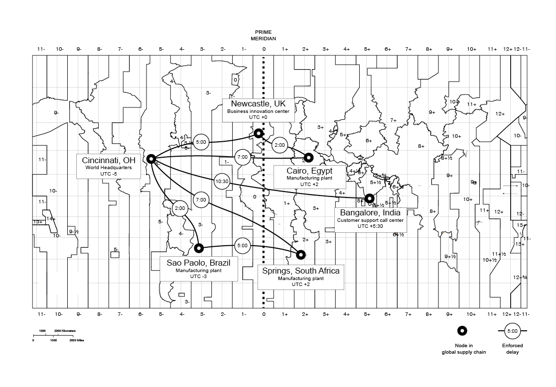 Fig. 2: Generic example of a transnational corporation's global supply chain with projected delays Source of base map:  The World Factbook - Central Intelligence Agency