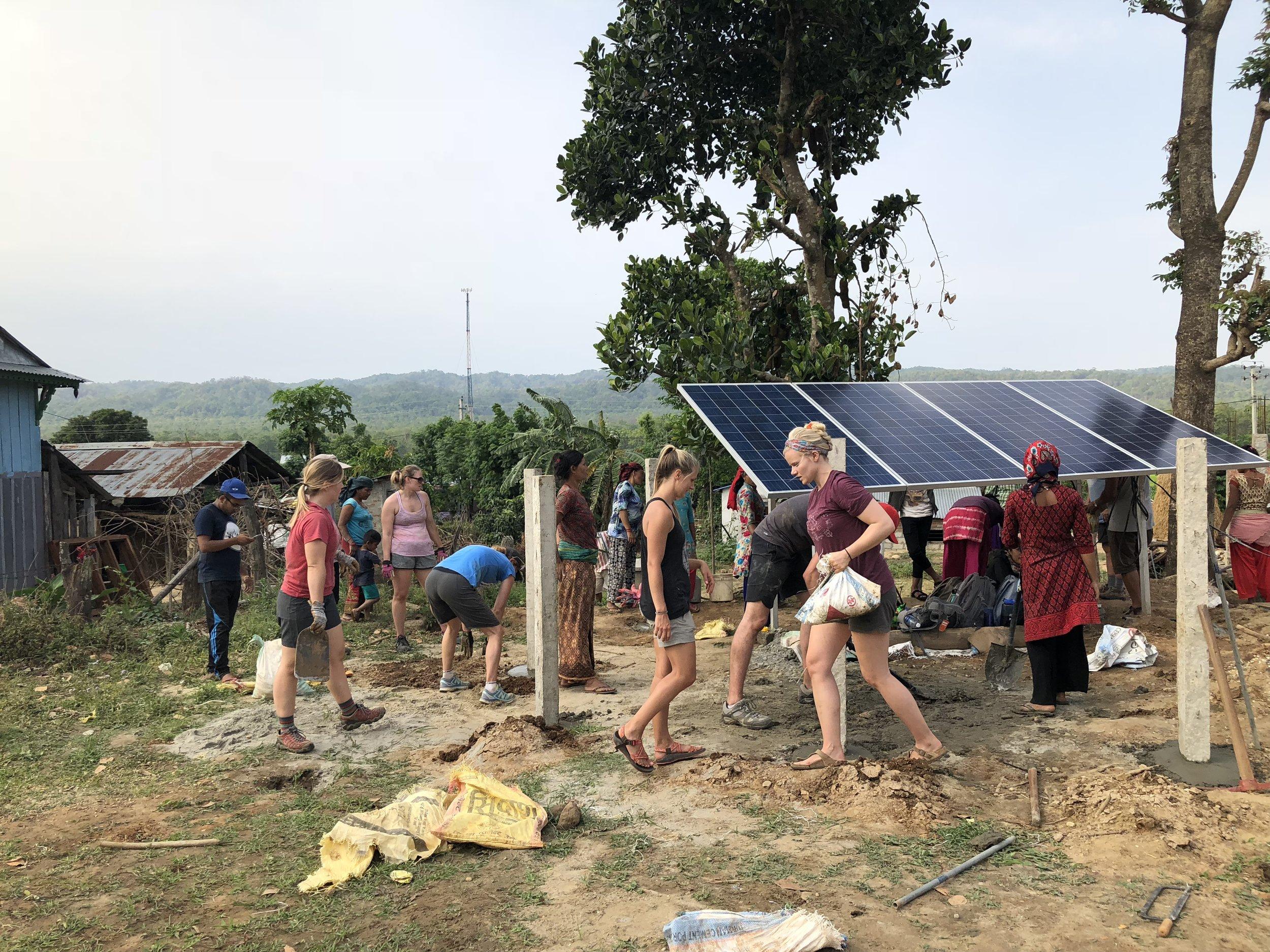 W|W Nepal team working around the New Solar powered pump in April.