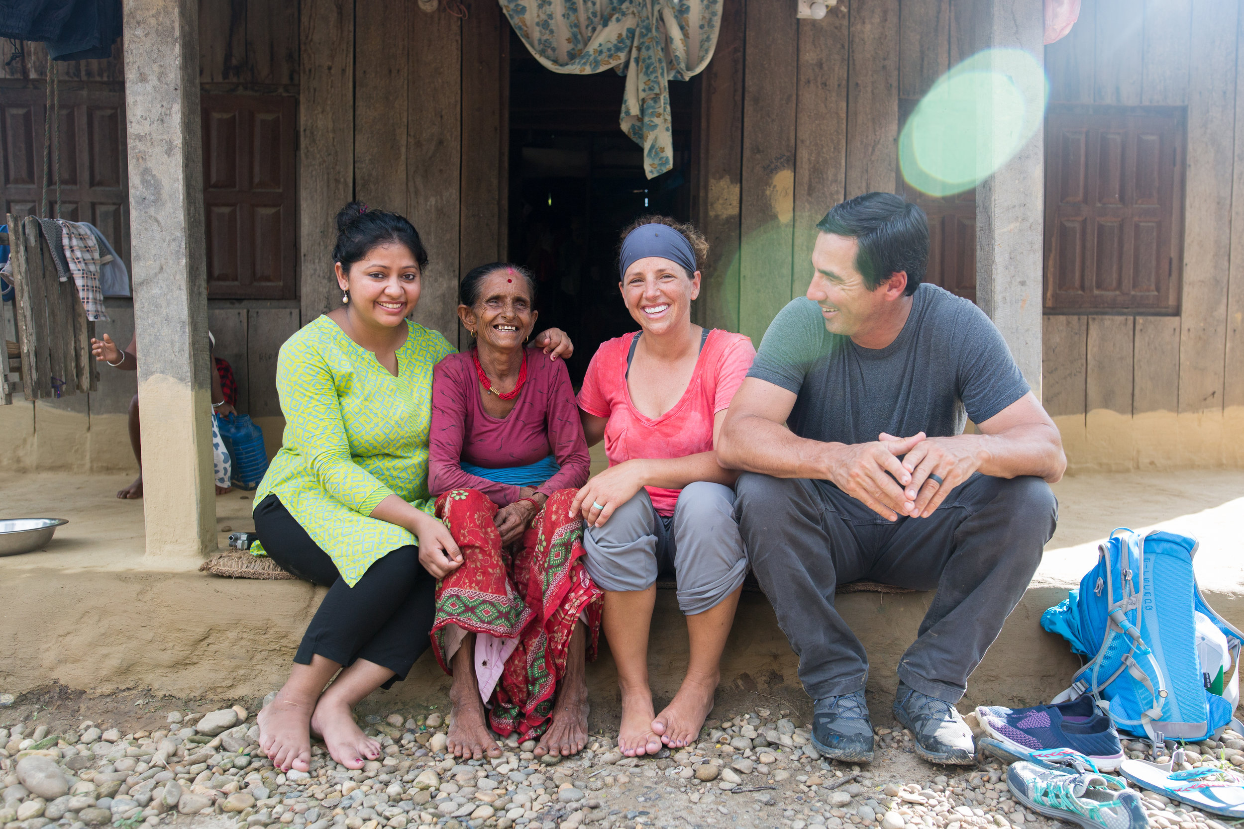 Harikula Sahi (second from the left) shares her powerful story with the team as Roshani translates.
