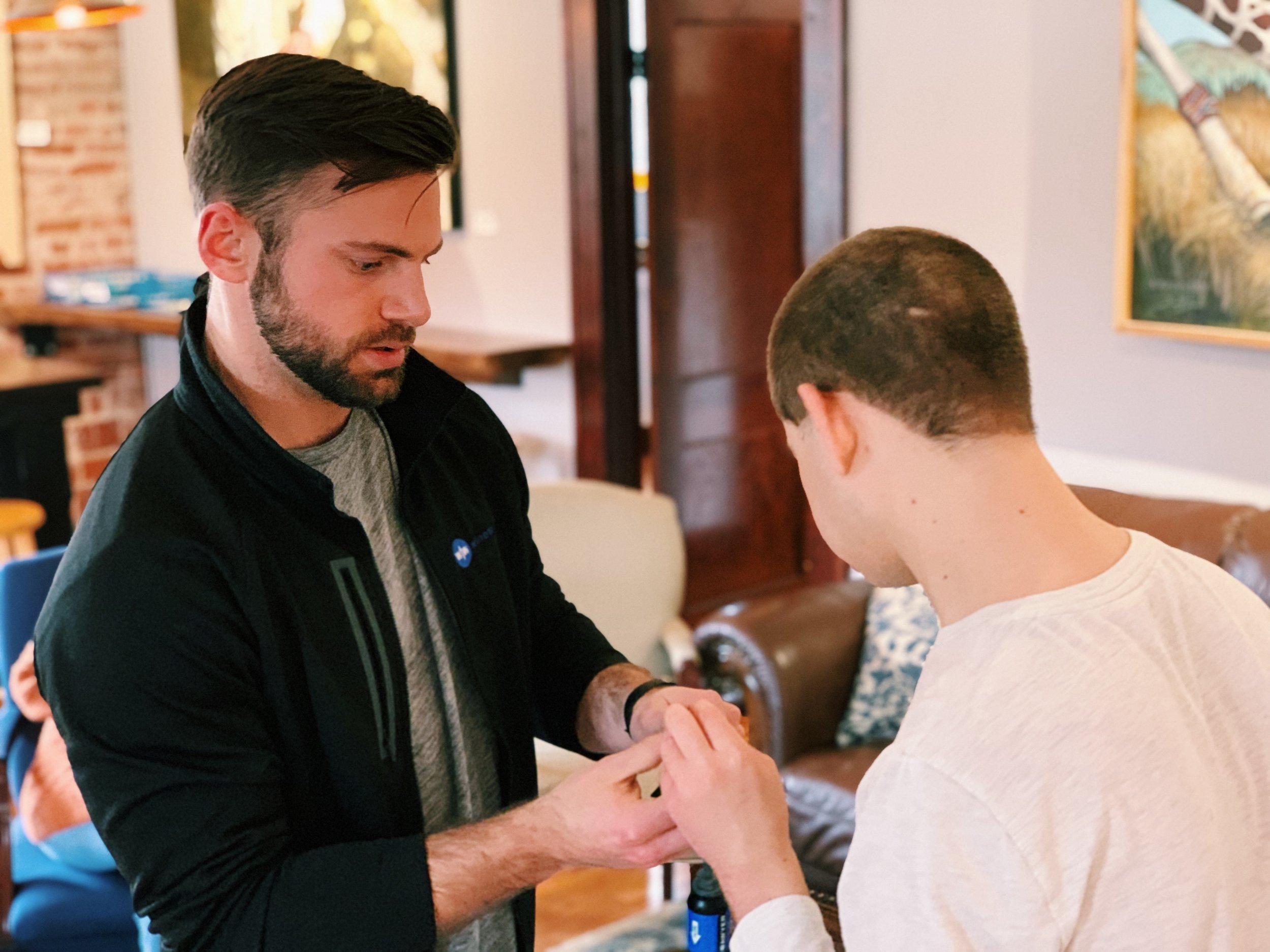 Alec showing his friend David Richardson how it's done!