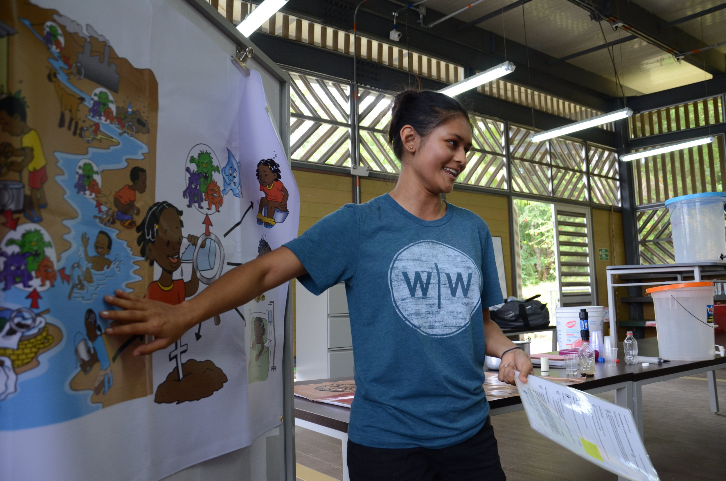 Ana Maria training a group of students on water-borne disease transmission.