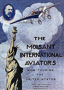 An advertising poster for the early flying exhibition team, the Moisant International Aviators
