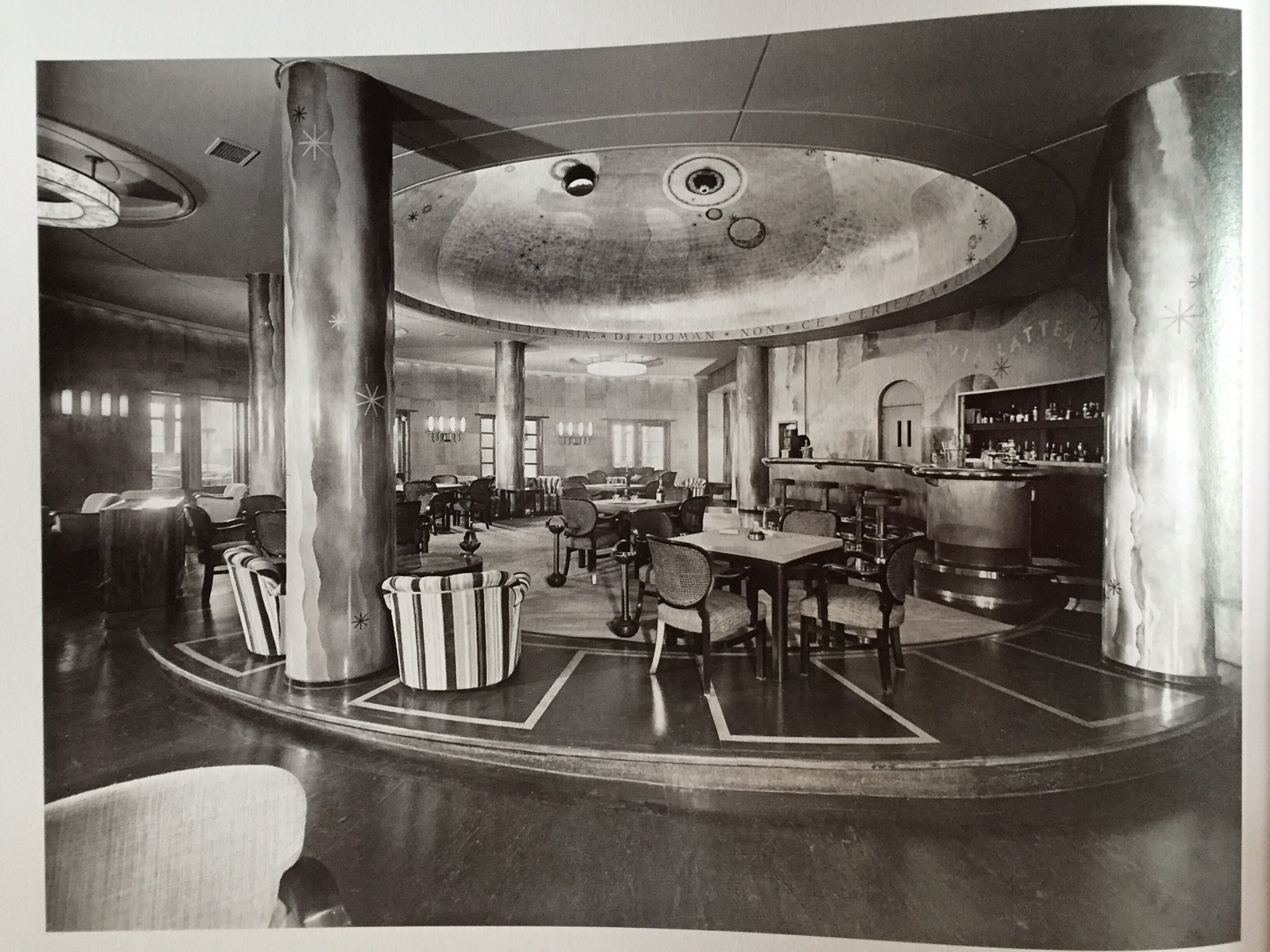 A first class lounge aboard the Transatlantic liner, the S.S. Conte di Savoia 1932