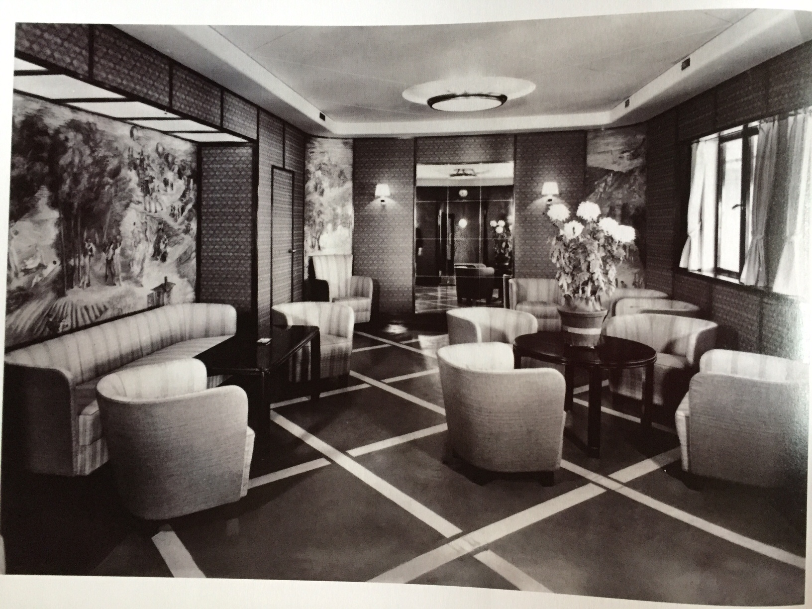 The Main lounge aboard the Transatlantic liner, the S.S. Ile de France 1926