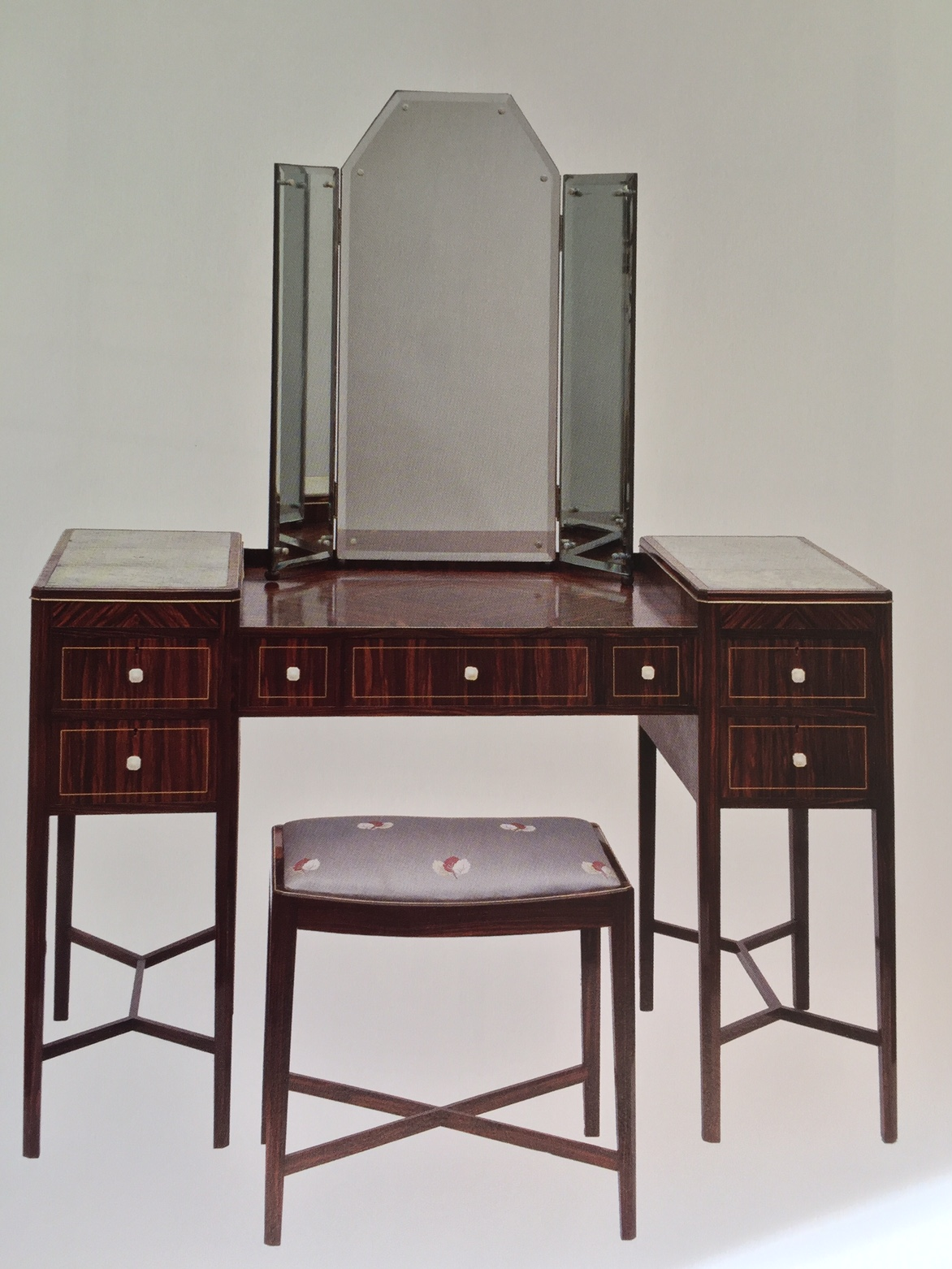 F.J. Johnson, Dressing table and stool, 1926-27