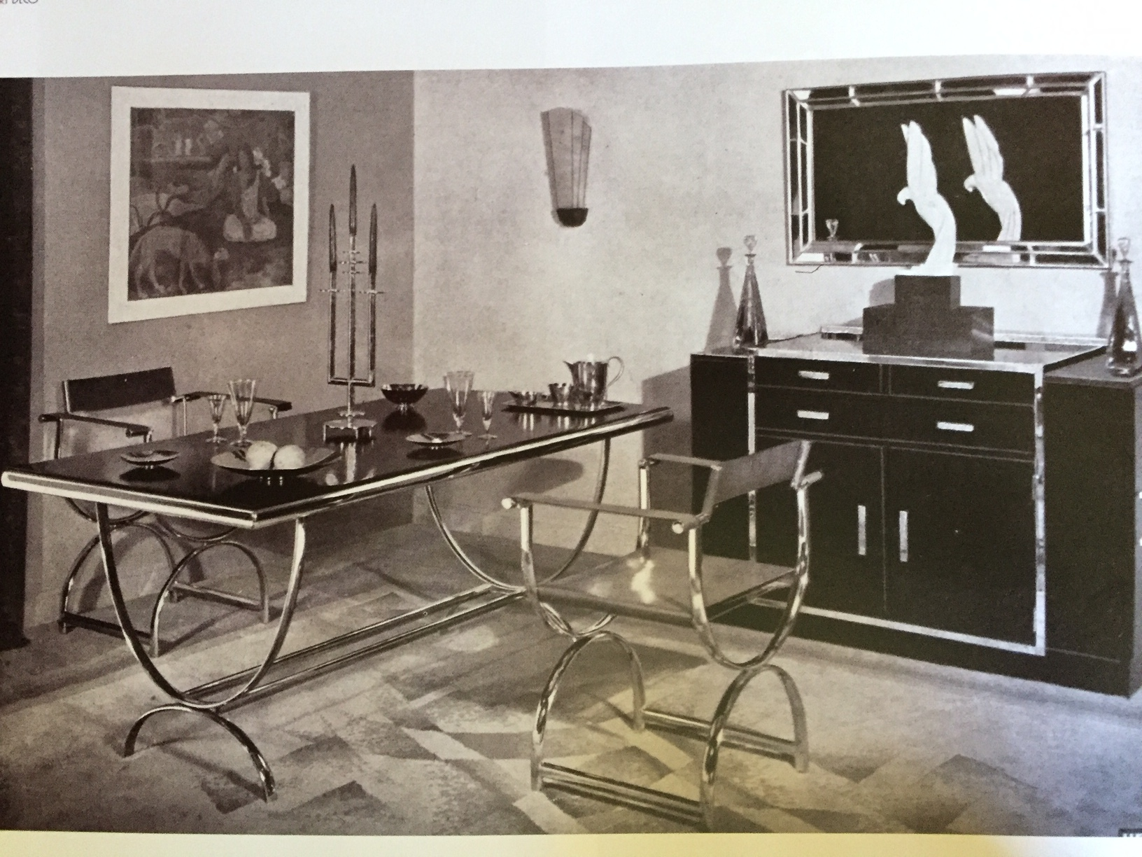 Dining Room with chromed furniture, 1925