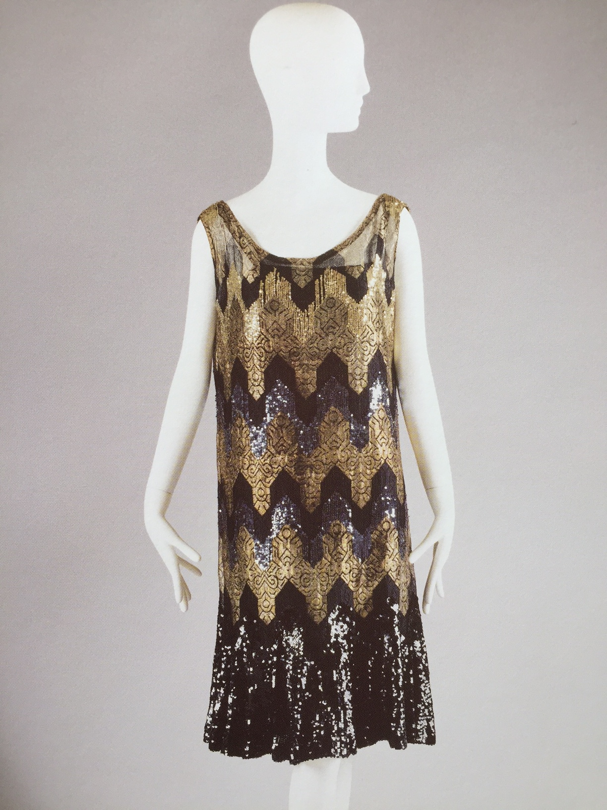 Coco Chanel, Evening dress in silk, metallic thread and sequins, 1926-27