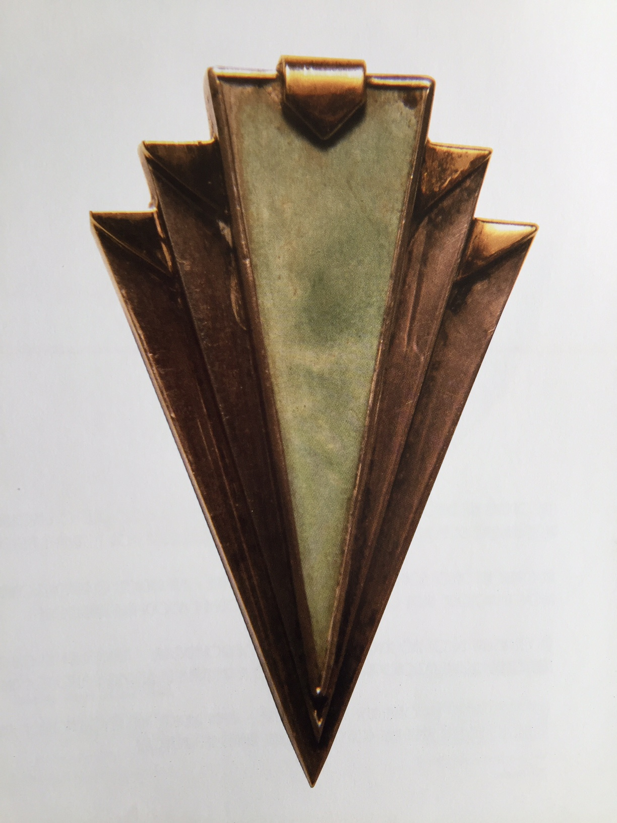 Jean Després, Brooch, silver gold and jade, 1930