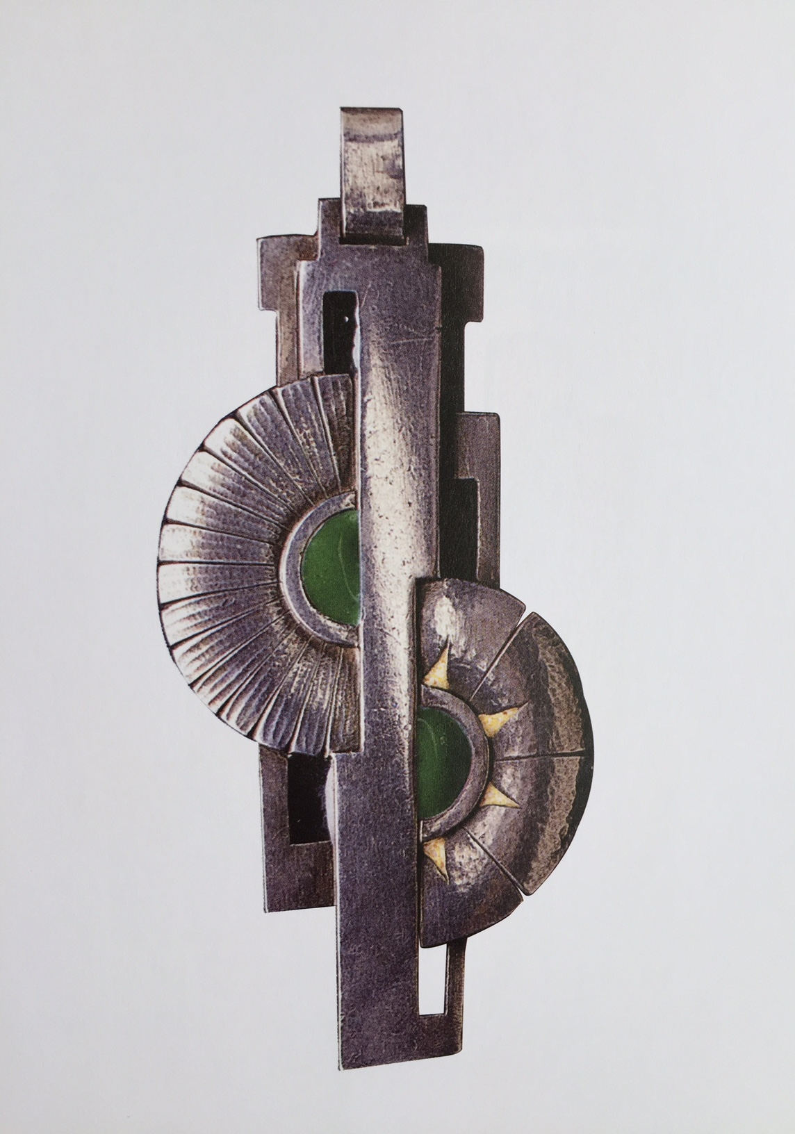 E. David, Pendant, silver and enamels, 1920