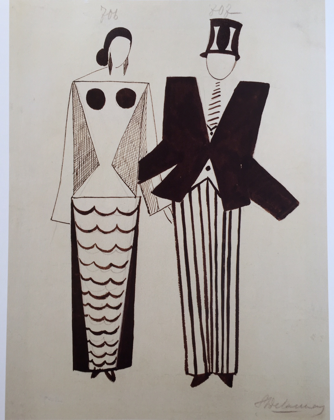 "Sonia Delaunay Terk, Costume Designs for Miss Mouth and Mr Eye, for Tristan Tzara show ""Le Coeur à Gaz"", 1923"