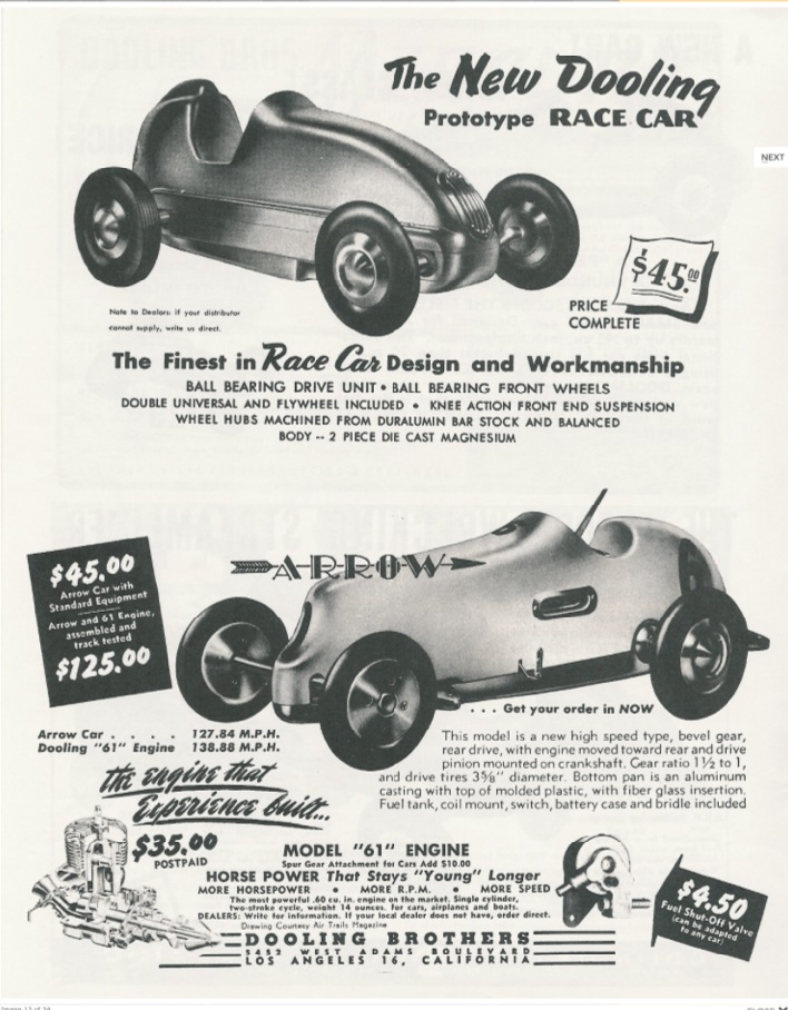 Dooling Brothers race car advertising, late 1940s