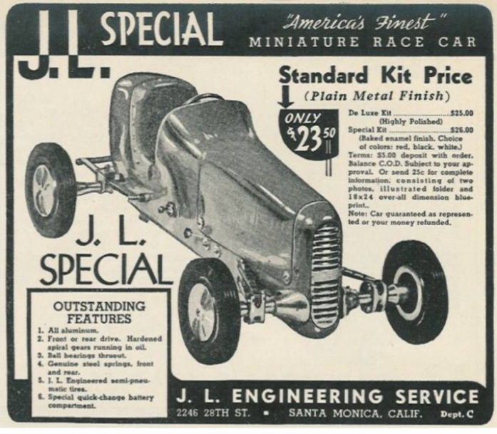 J. L. Special miniature car advertisement, late 1940s