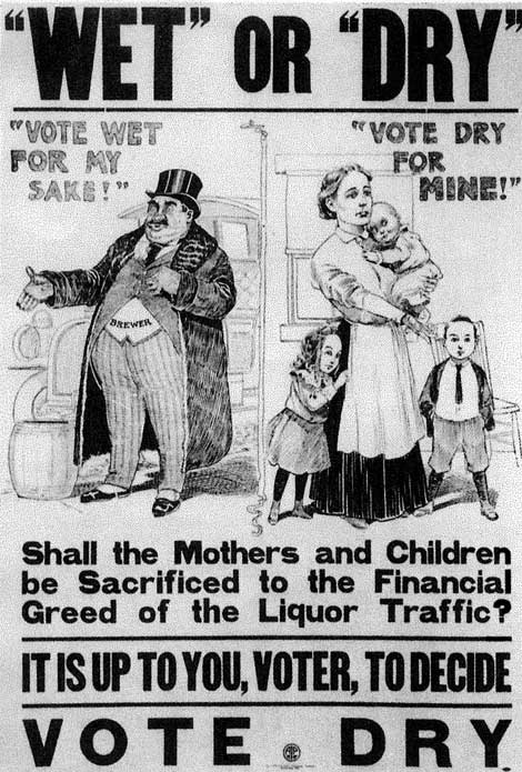"""Wet or Dry"". A propaganda poster from the elections of the late 1800's made by the WCTU to vote for prohibition."