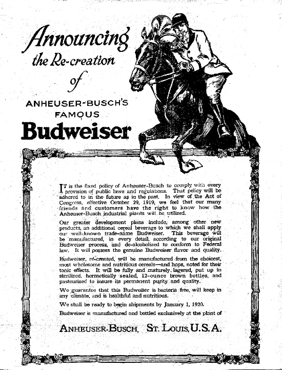 Budweiser company annoucing their beer will be de-alcoholized to conform the Federal Volstead law, 1919.
