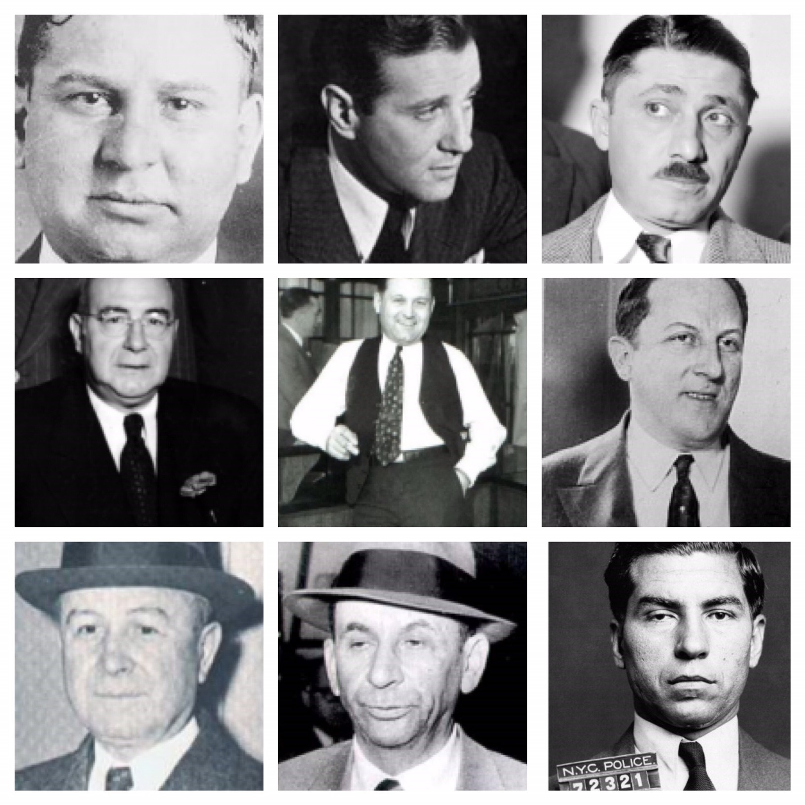 "From top left: Joe Masseria, Bugsy Segal, Frank Nitti, Enoch ""Nucky"" Johnson, Bugs Moran, Arnold Rothstein, Johnny Torrio, Meyer Lansky, Lucky Luciano, Al Capone (not in this picture), these are the most powerful gangsters who rose up to power thanks to the prohibition law. Their fame and wealthy did not generate just from robbery,  booze, gambling, racketeering, murders and prostitution but from the illegal import of whiskey from Ireland, Scotland, Canada and Caribbean. From New York to Chicago, from Atlantic City to Las Vegas and Los Angeles (with the Ardizzone Family), this huge supply- demand gap in the alcohol business was Gangsters main source of cash."
