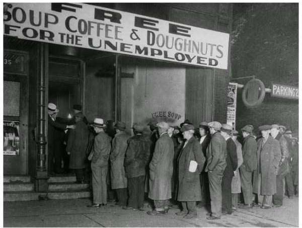 Unemployed men outside Al Capone's soup kitchen in Chicago during prohibition and Great Depression