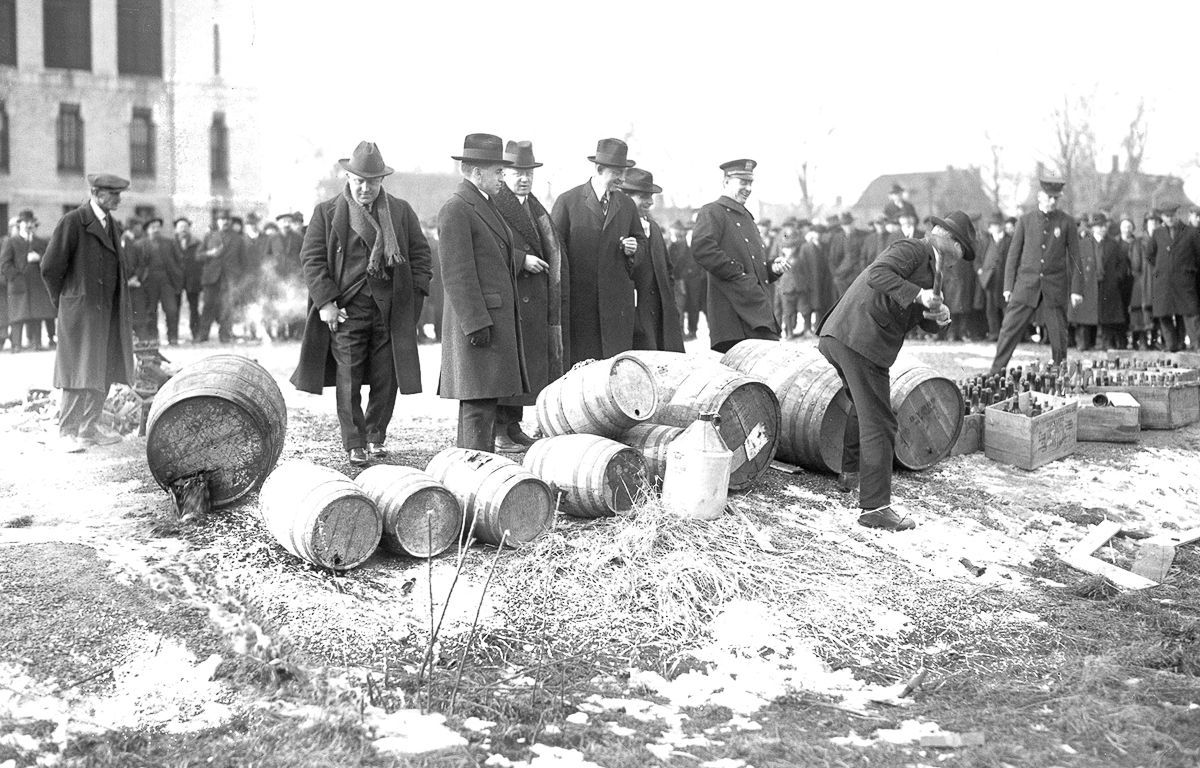 "The government set up the ""Federal Prohibition Bureau"" to fight illegal trade of alcohol."