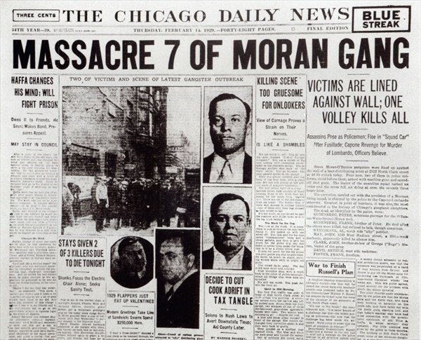 In 1929 on St. Valentine's Day, seven members of Bugs Moran's gang were gunned down in cold blood in a garage in Chicago. This massacre was leaded by Al Capone,  the biggest Boss of the prohibition era. This massacre, which shocked the nation with its brutality, was reported by major newspapers and made Al Capone a public enemy.