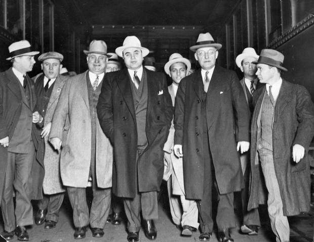 "Al ""Scarface"" Capone, the biggest crime boss of the 20th century, and his squad in Chicago."