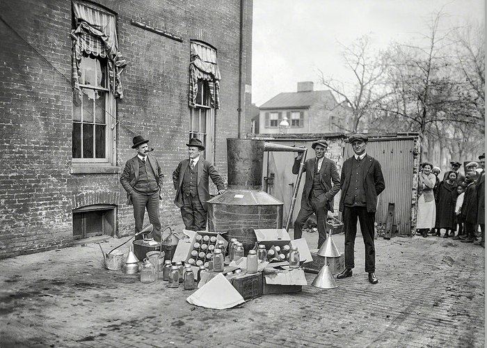 Federal Prohibition Agents confircate an illegal liquor still, 1920
