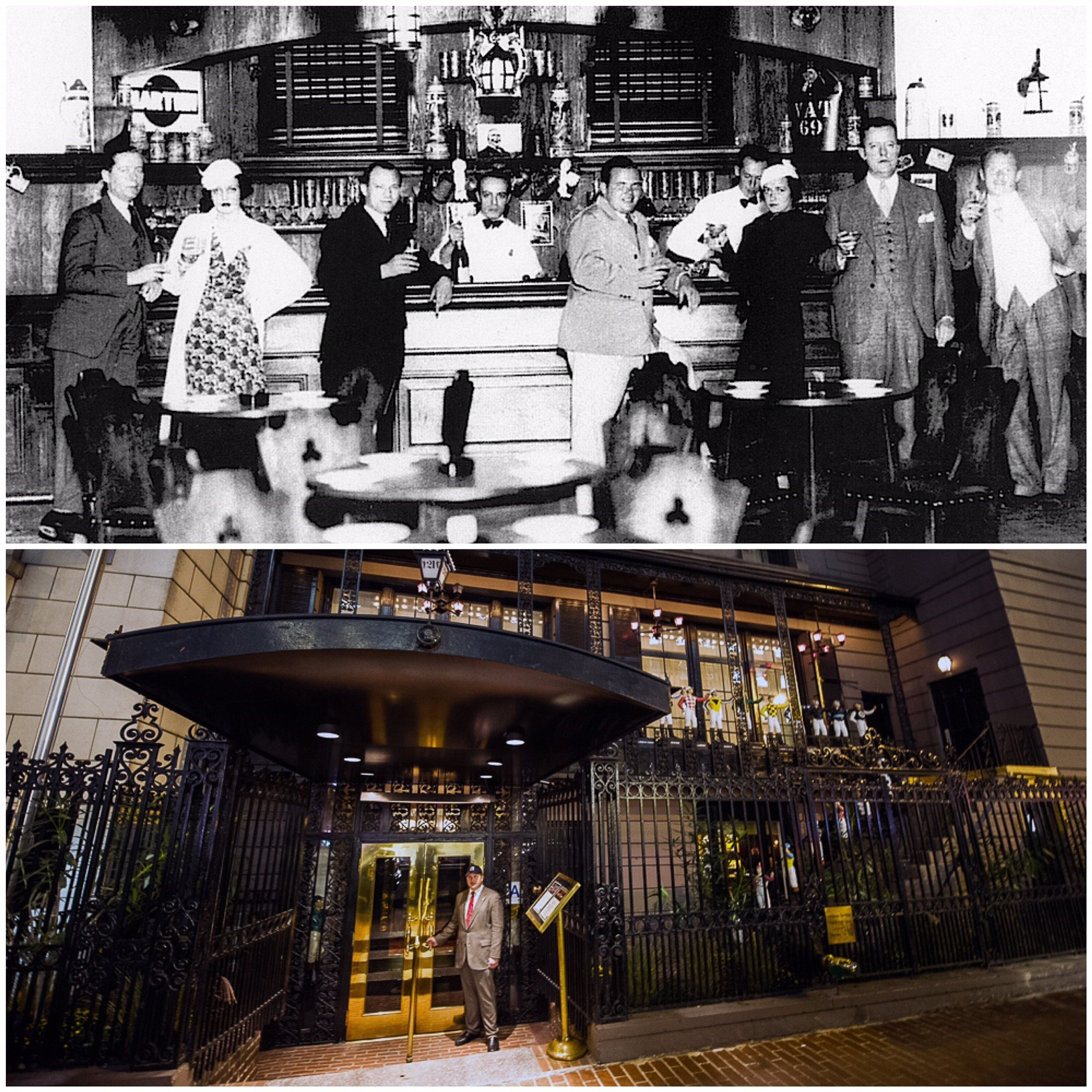 The 21st New York club was a famous Speakeasy serving alcohol during the Prohibition. The first picture shows the club as an illegal bar during the 1920s. The club still exists in its original place in the heart of Manhattan (picture 2) and it's also a high-end restaurant.
