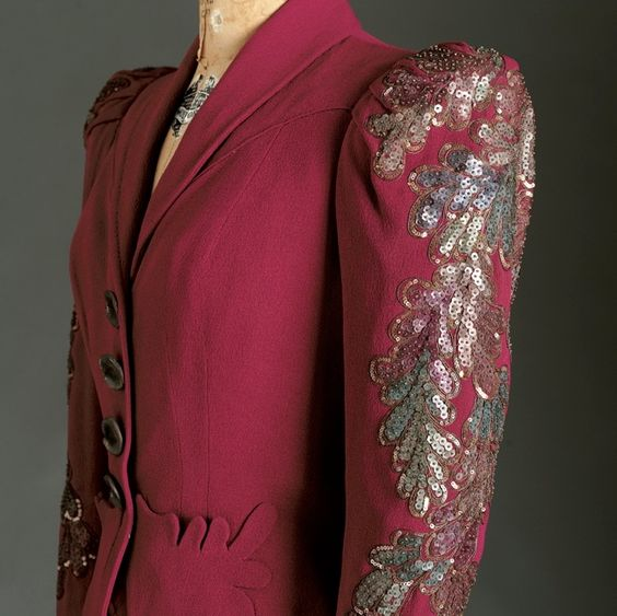 Elsa Schiaparelli Jacket, Spring 1938. The jacket was inspired by a Botticelli painting of Venus standing in a forest.