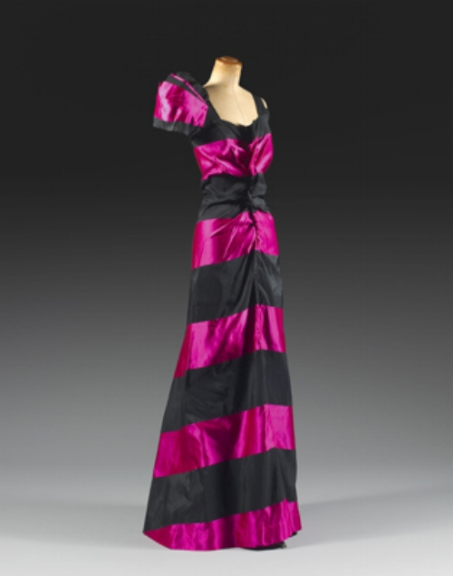 This Schiaparelli's dress is from 1938. She invented her signature colour, the shocking pink