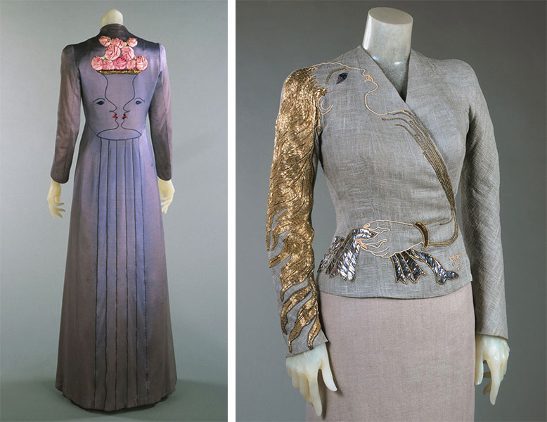 Two collaborations with Jean Cocteau: a long evening coat with a vase of flower and, at left, a sequined evening jacket with an arm clutching a knot of ribbons across the front , at right, both from 1937