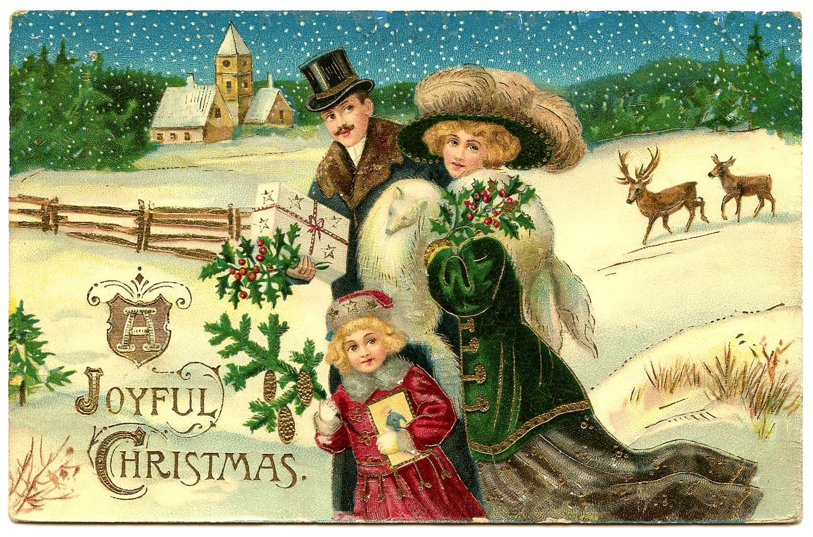 A hand painted Victorian Christmas card
