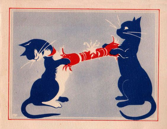 Man's little friends were often the subject of Christmas cards during the 1930s. Designers probably saw them as a means for keeping the morale high during the economic recession.