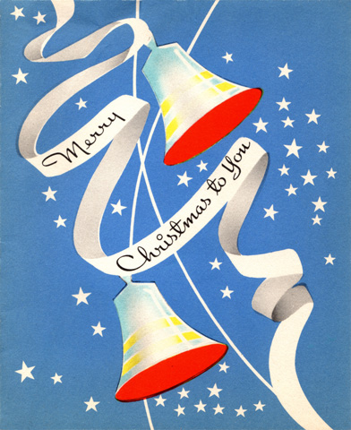 Bells of victory were featured on Christmas cards of all types. Blue, red and white stars recall the USA flag clolours.