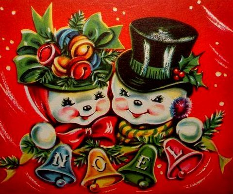 Smiling images, such as the snowy couple Mr. and Mrs. Snowman, were also popular in the 1940s.