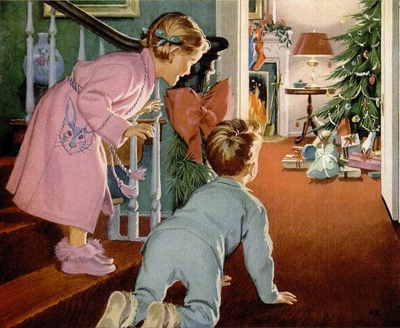 A Christams tree full of presents underneath and children eager to unpack the gifts. This image was often used on Christmas cards of 1950s.