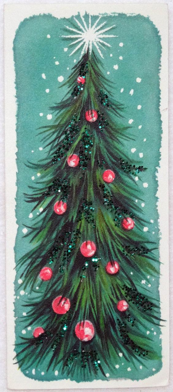 The Christams tree took the central stage of 1950s greetings cards.