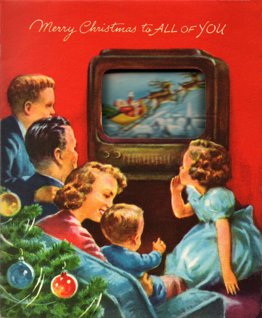 Christmas cards often represented the traditional american family by the tree. This was a reflection of the baby boom which took place during the 1950s.