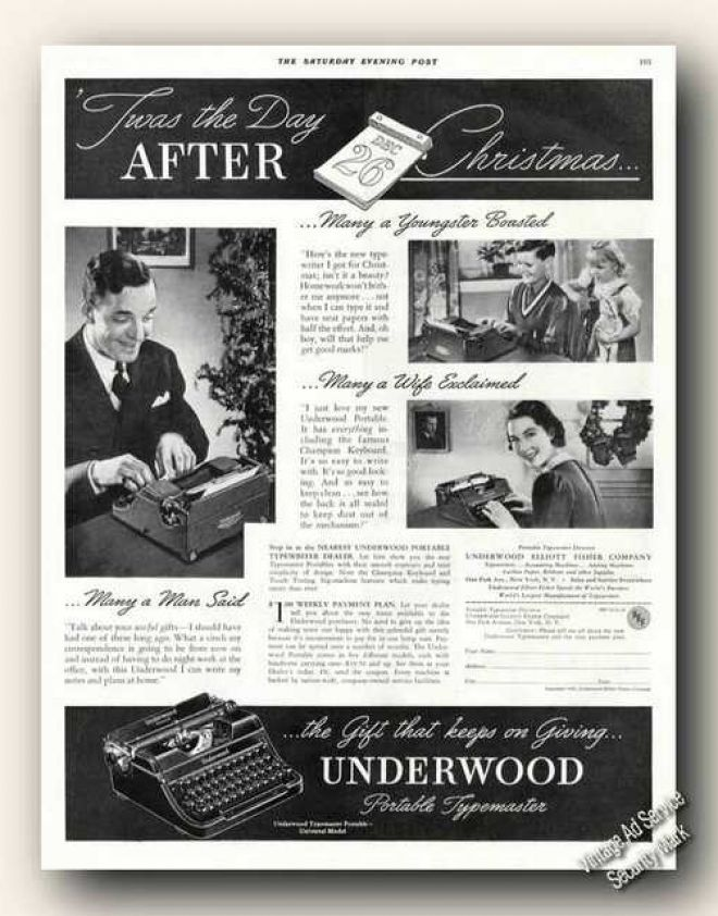 Underwood Typewriters Christmas (1937)