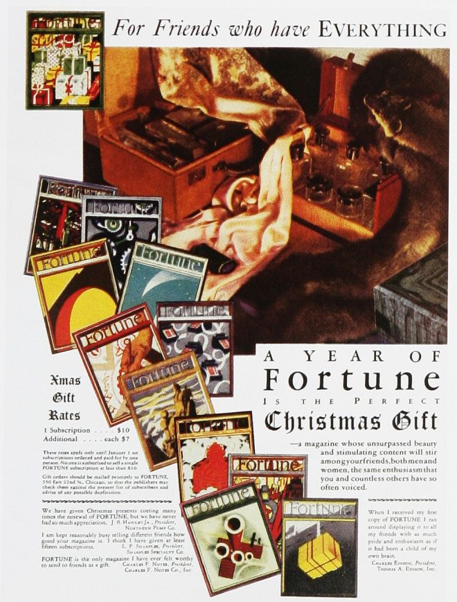 Fortune Magazine, a year subscription gift, 1930s
