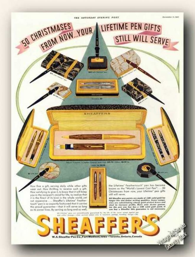 Sheaffer's Pen Sets Christmas Gift (1937)