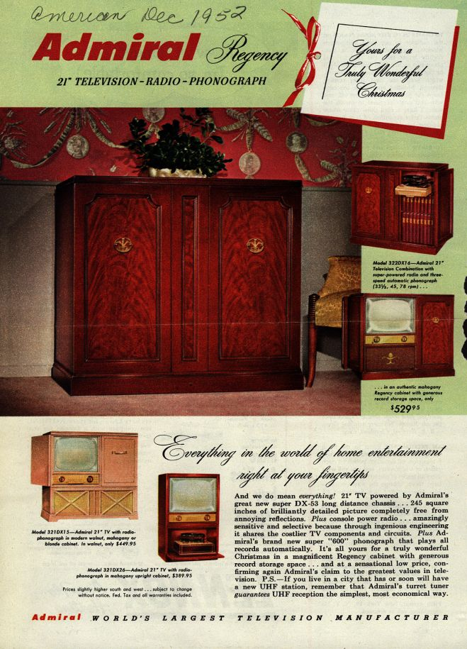 Admiral Corporation's Television, 1952