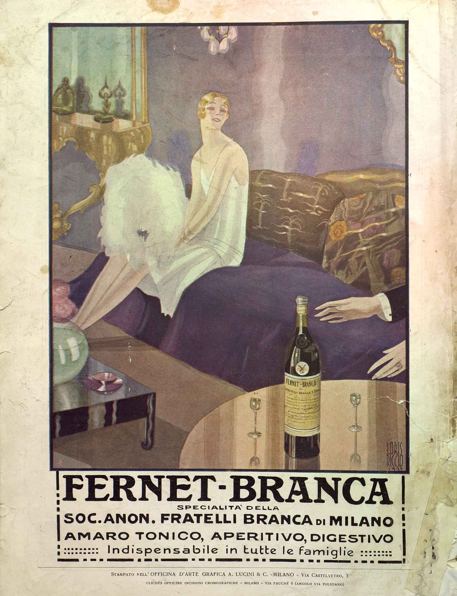 One of the many illustrated advertising inside the magazine Lidel. Italian illustrators stood out for their creative talent and were greatly demanded abroad.