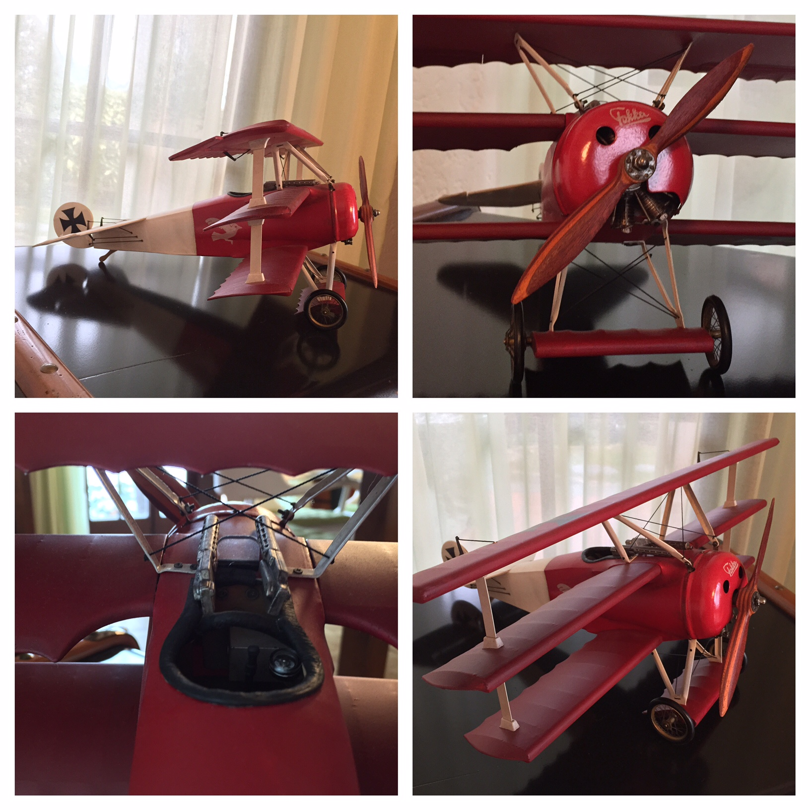 The   Fokker Triplane     model from Authentic Models, a meticulous reproduction of the Fokker fighter aircraft which was flown by the Germans during World War I and by Manfred von Richthofen, the legendary  Red Baron.