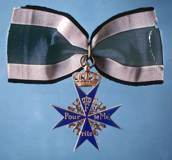 """Pour le Mérite""  awarded to Manfred von Richthofen in January 1917. It was an order of merit awarded as both a military and civil honour and ranked among the highest orders of merit in Germany at the time."