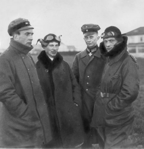 Manfred von Richthofen (first on right) with Anthony Fokker (second from left) the Dutch pioneer aviator and manufacturer of the Fokker Triplane DR.1