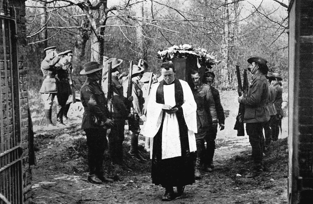 Richthofen funeral on April the 22nd 1918. Australian Imperial Force No. 3 Squadron's officers served as pallbearers.