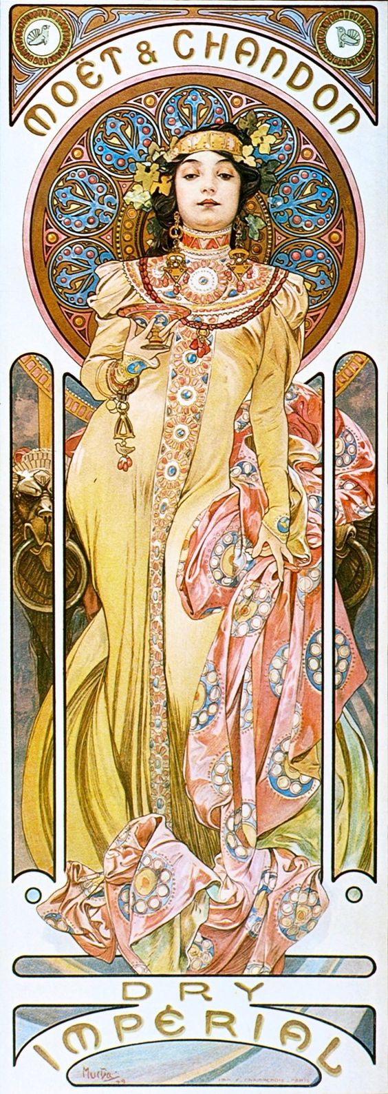"""Art Nouveau poster """"Moët and Chandon Cremant Imperial"""" by Alphonse Mucha, 1899"""