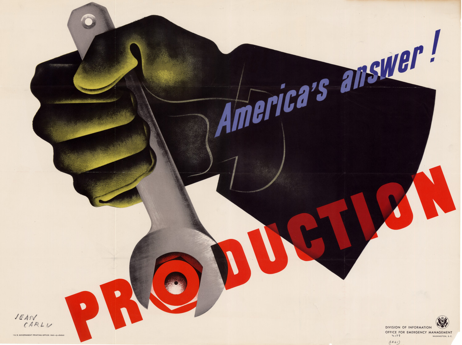 Jean Carlu, USA advertising poster for WWII, 1942