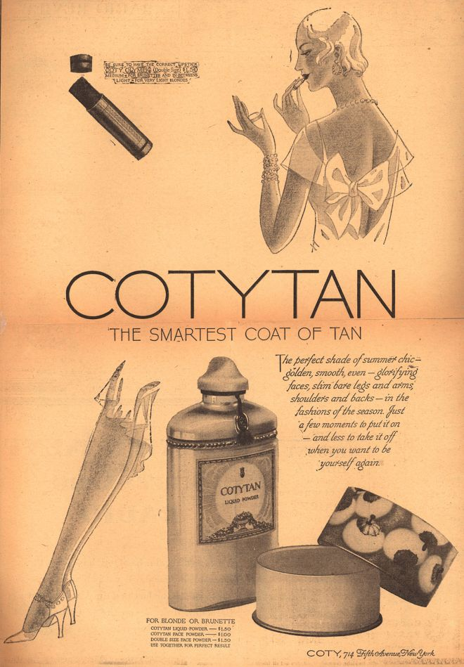 Coty – CotyTan The Smartest Coat Of Tan, 1929