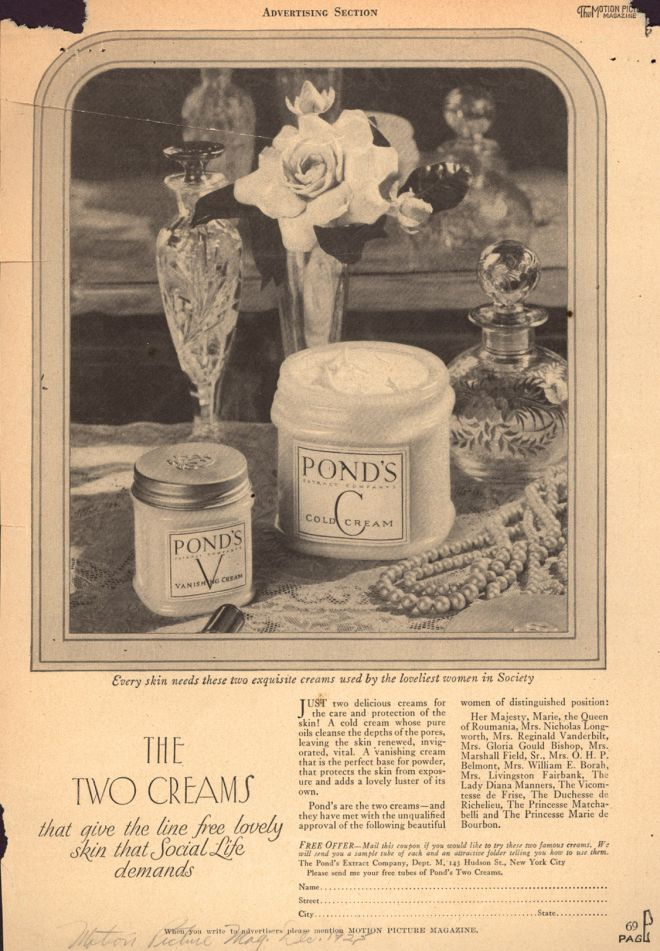 Pond's the two creams, 1925
