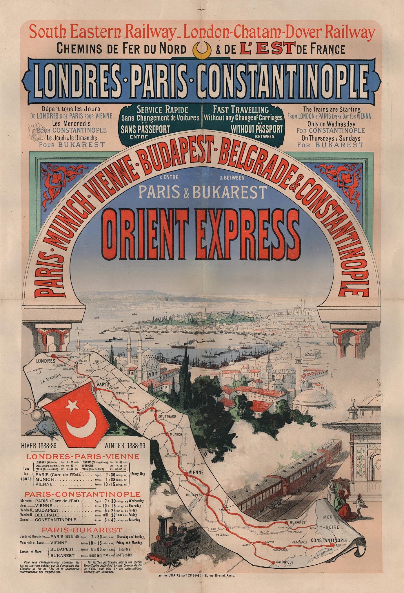 One of the first advertising poster of the Orient Express , 1888